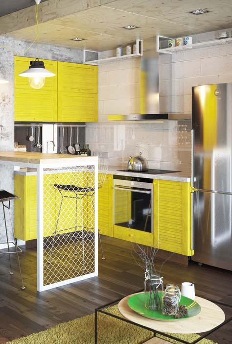 Cozinha pequena amarela e super moderna