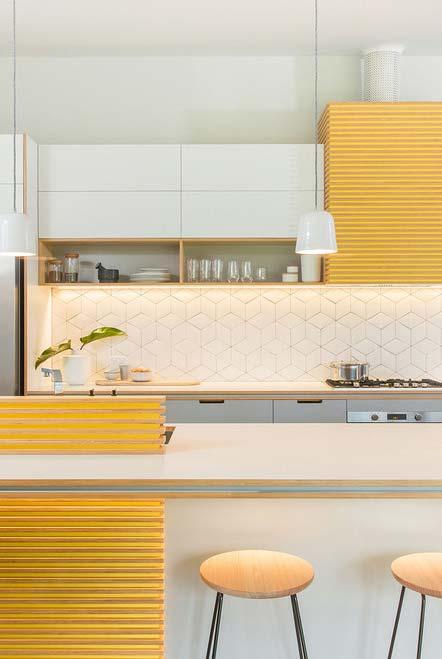 cozinha em tons pastéis num estilo mais clean