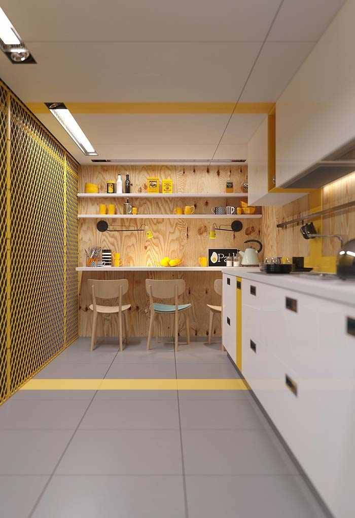 Pontos amarelos em cozinha pequena e moderna
