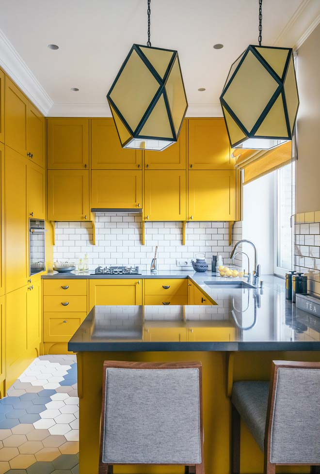 Desenho de planejado inspirado no retrô em amarelo canário