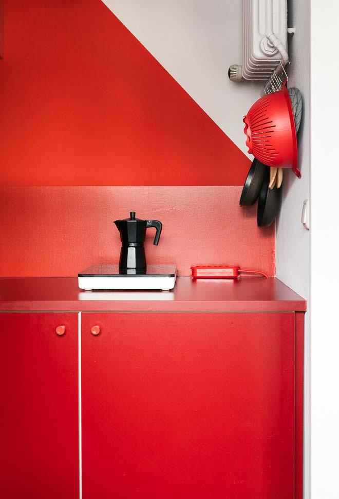 Linda cozinha vermelha