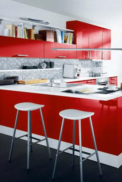 Cozinha vermelha no estilo americano