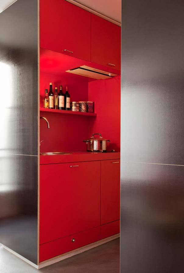 Cozinha compacta vermelha