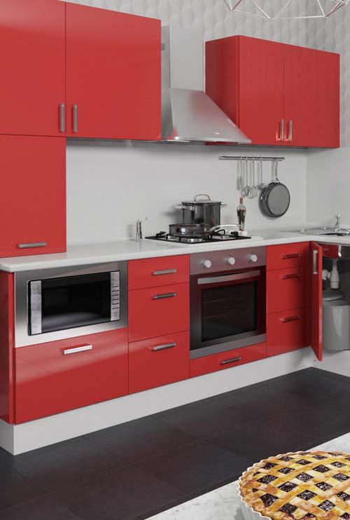 Cozinha em vermelho, branco e inox