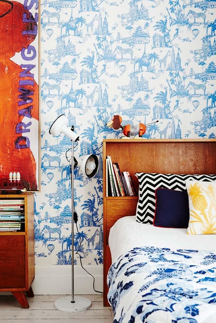 Selva azul: quarto infantil com papel de parede