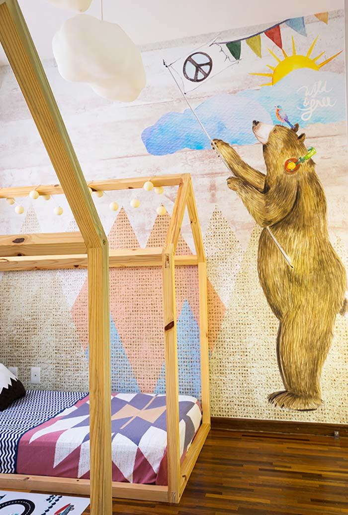decór para quarto infantil duplo com papel de parede especial