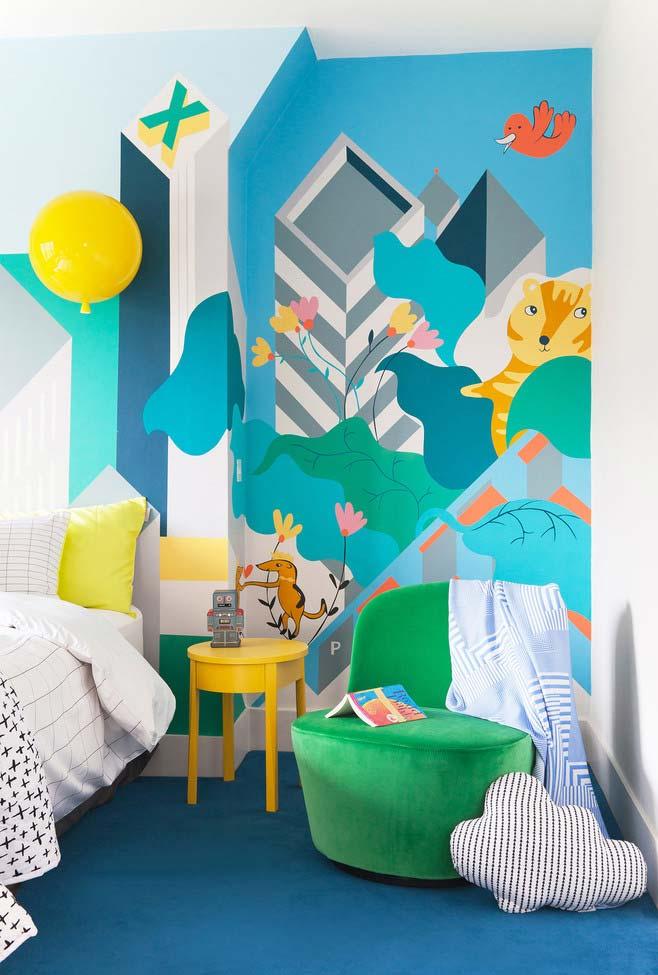 Decór clara e super colorida para um quarto infantil