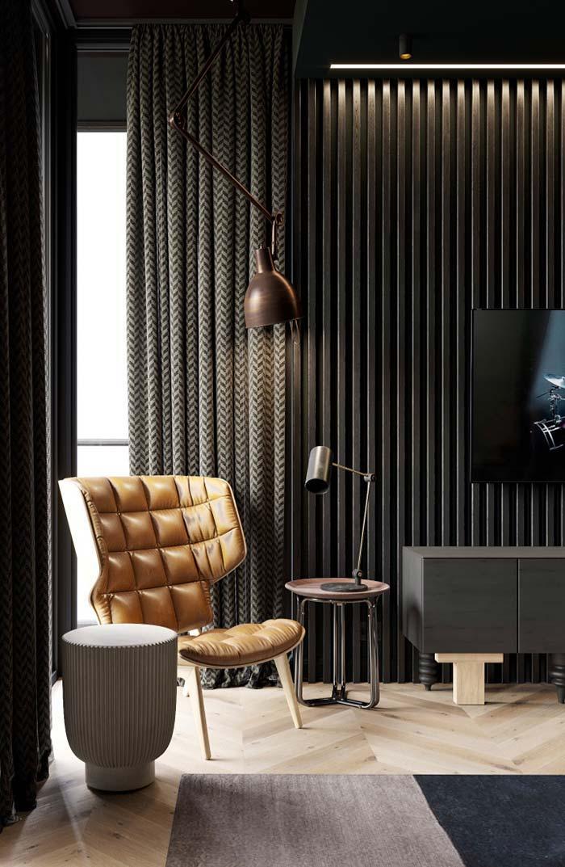 Sala de estar com decoração clássica e neutra