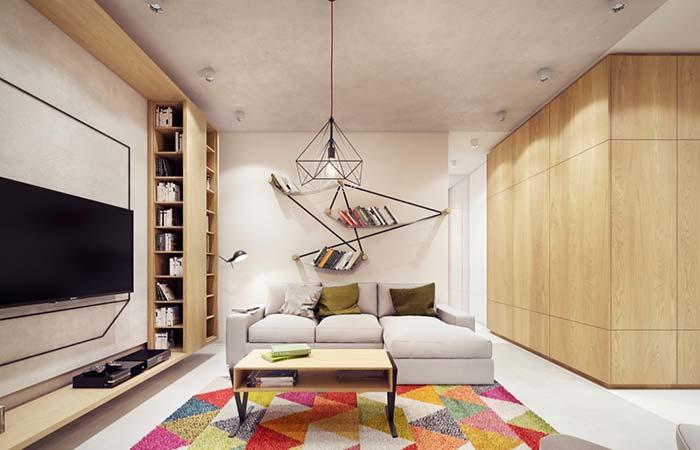 Linhas retas para decorar a sala de estar