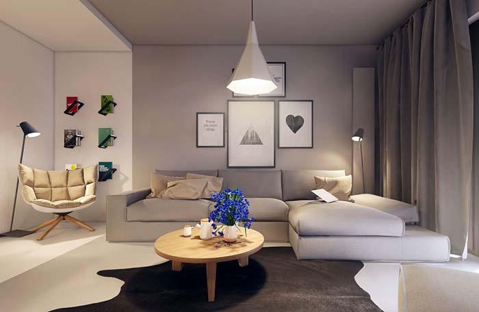 Sala de estar grande e confortável