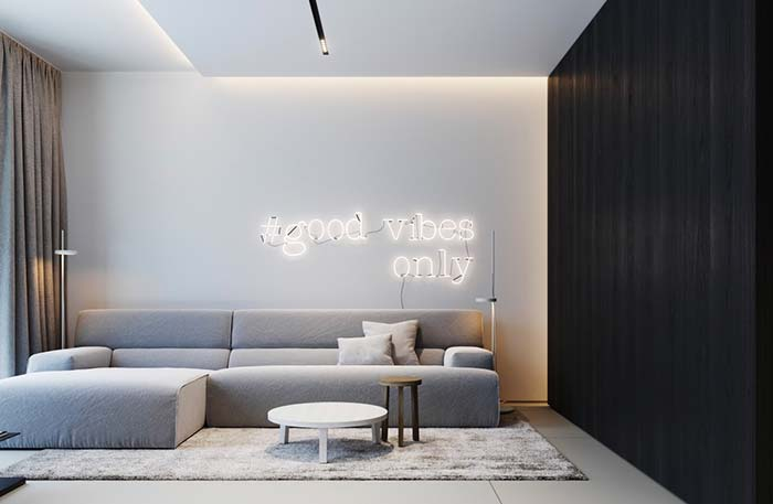 E um letreiro luminoso na sala, o que acha?