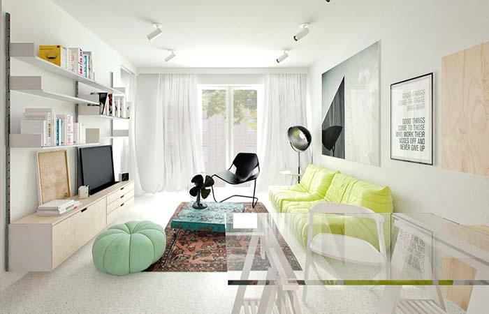 Sala de estar clean decorada em tons cítricos: garantia de frescor e luminosidade