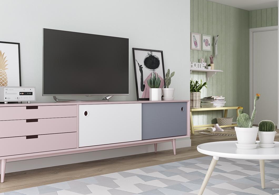 Tons pastéis e cactos: tendências na decoração de sala de estar