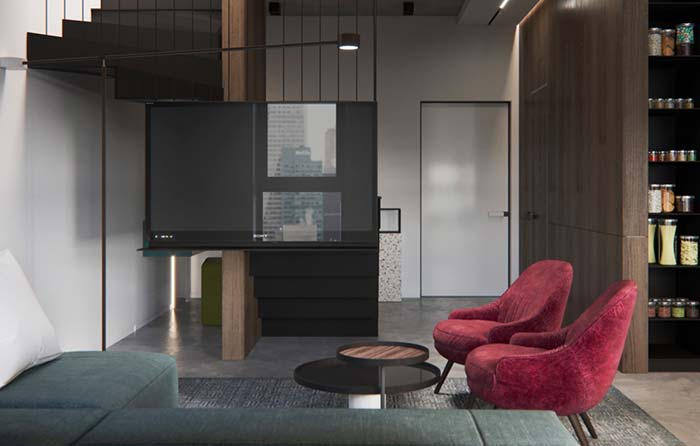 TV fixada na estrutura da escada: solução para salas pequenas