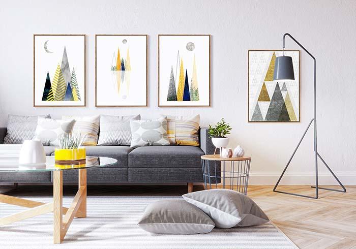 Detalhes em amarelo para colorir a sala de estar