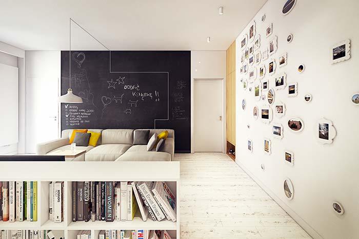 Decore a sala com suas lembranças e exponha suas ideias e criatividades no adesivo de lousa