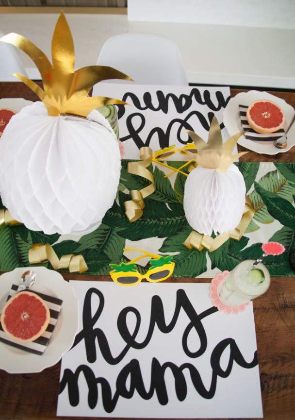 Decoração de dia das mães inspirada em abacaxis