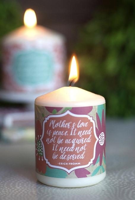 Decoração para o dia das mães com velas personalizadas