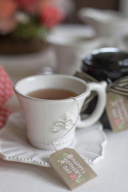 Saquinho de chá desejando feliz dia das mães