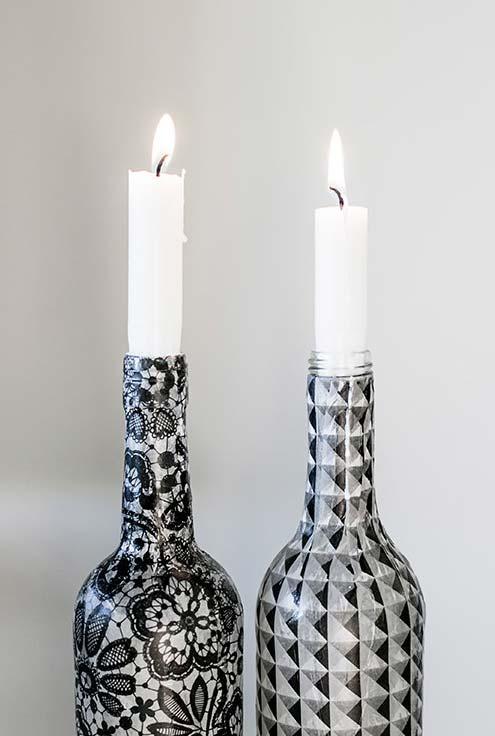 Você pode transformar suas garrafas em candelabros