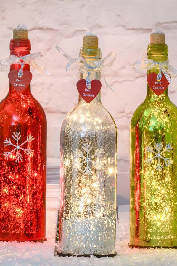 Garrafas-luminárias decoradas para o natal
