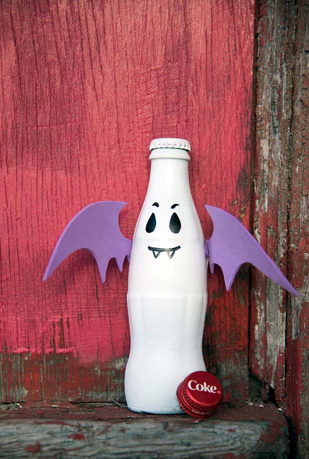 Garrafa decorada vampirinho com rosto pintado