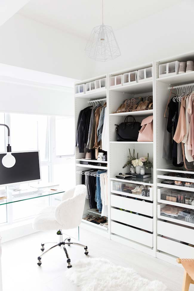 Modelos de closet e home office juntos