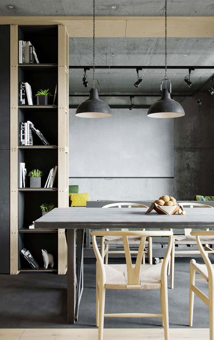 Sala de jantar decorada rústica e moderna