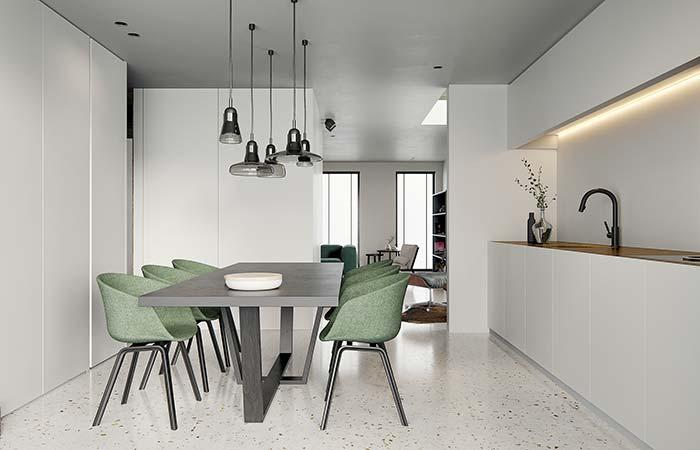 Sala de jantar decorada com tons sóbrios de verde e cinza