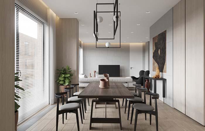 Cadeiras em estilo de banco conferem jovialidade a sala de estar