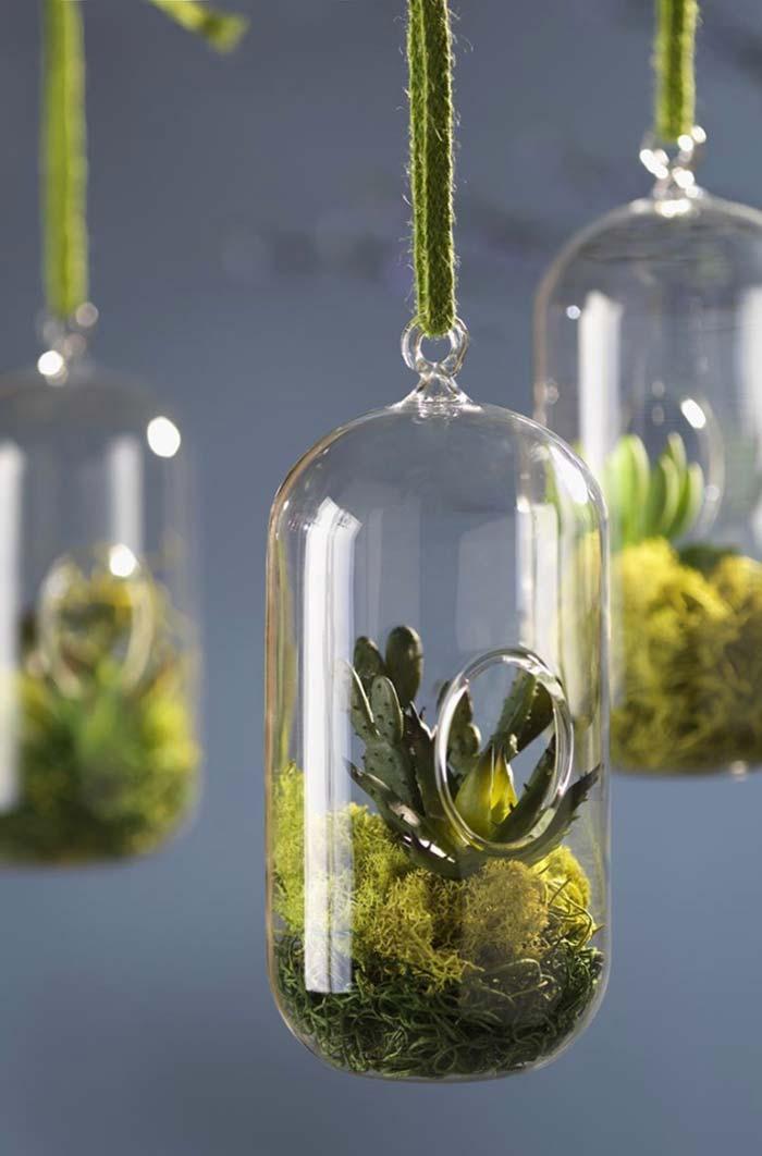 Terrários em vidrinhos pequenos são delicados e garantem o toque de verde para sua casa