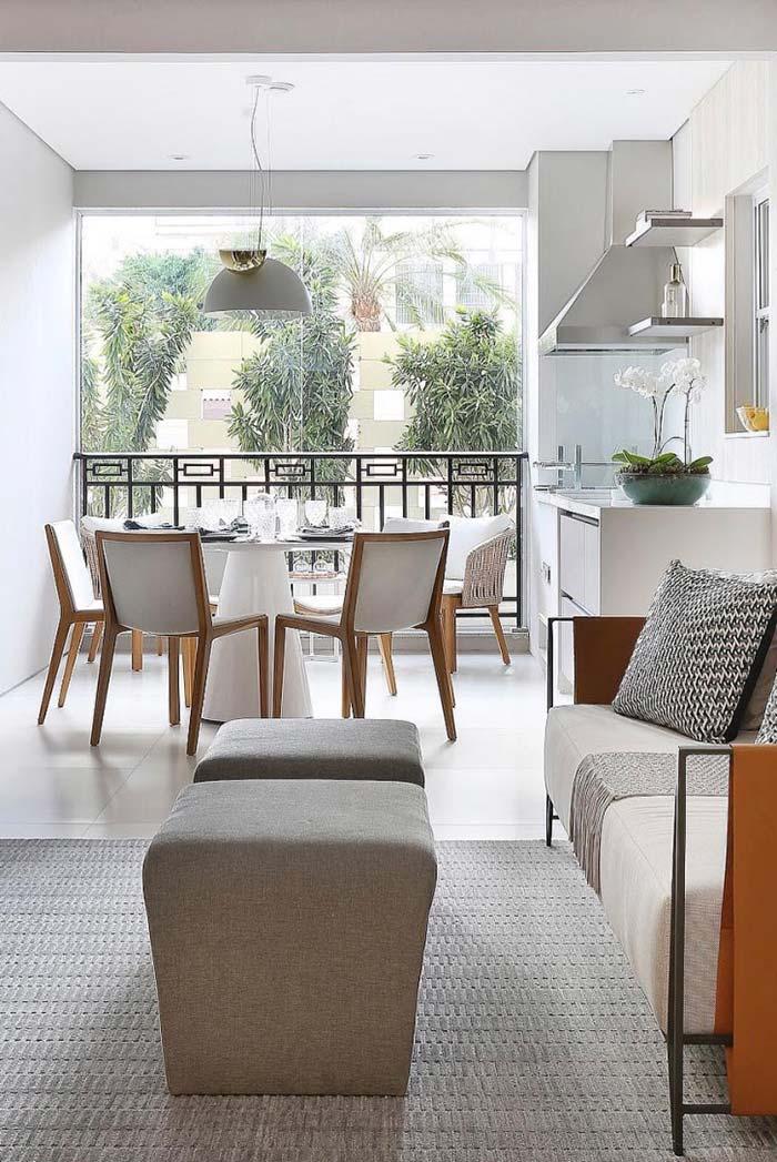 Varanda gourmet integrada com a sala