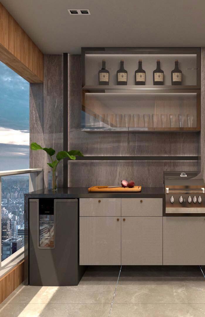 Móveis planejados ajudam a aproveitar ao máximo o espaço de varandas gourmet pequenas