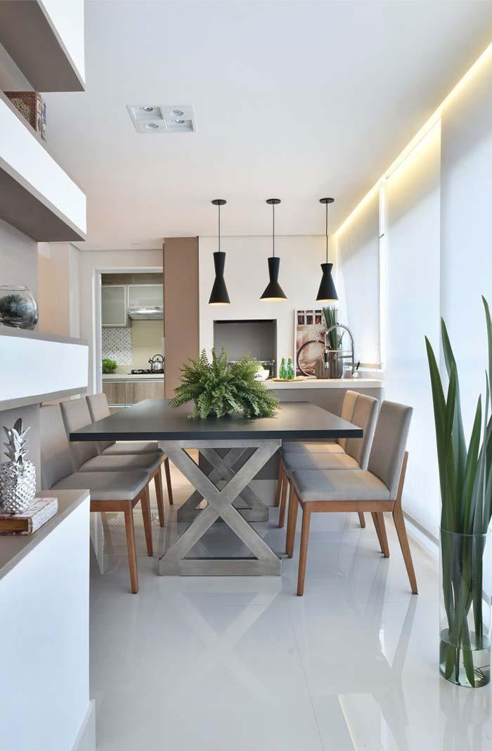 Cinza e branco criam uma decoração clean e elegante
