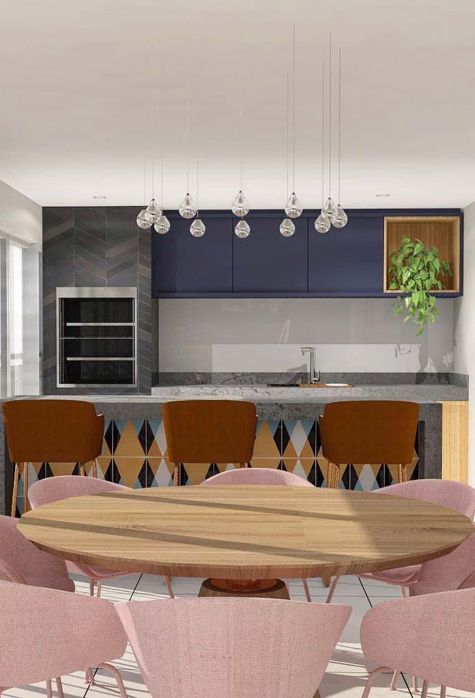 Varanda gourmet com toque de decoração retrô e romântica