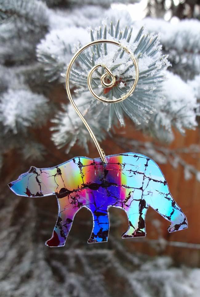 Molde de urso polar feito com CD