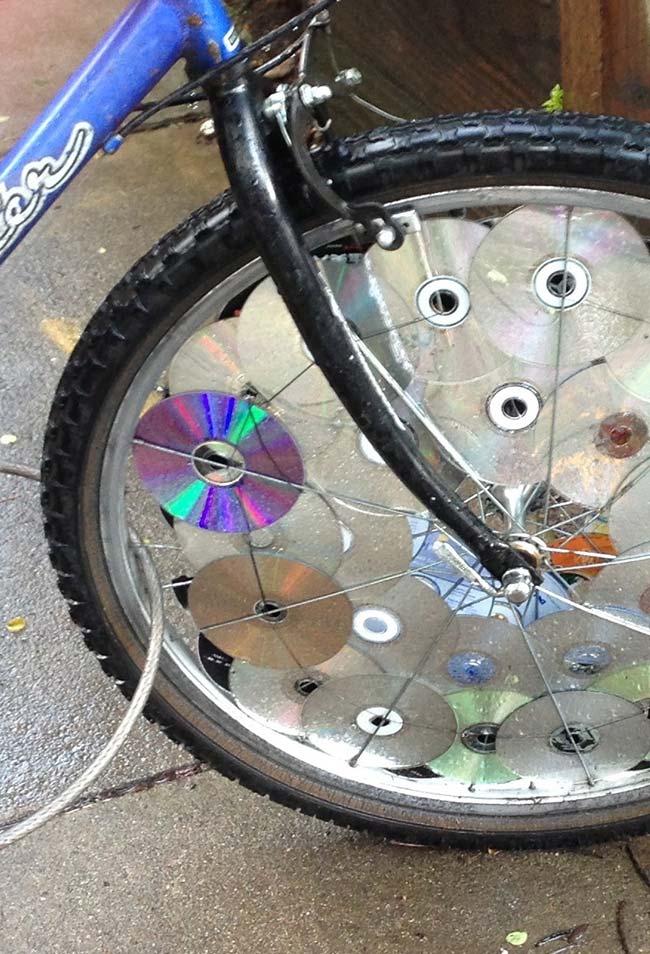 Artesanato com CDs para bicicleta