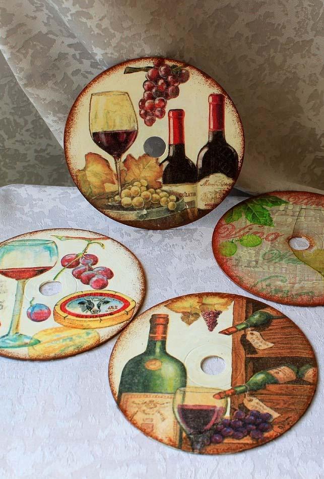 Uma coleção de porta-copos inspirados no universo do vinho