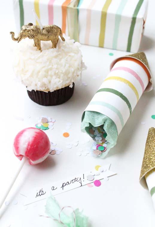 Confetes para festa feitos com artesanato de rolo de papel higiênico