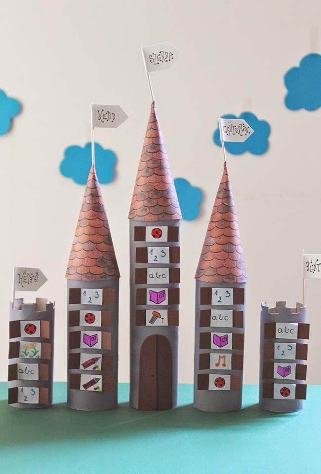 Artesanato com rolo de papel para montar castelo