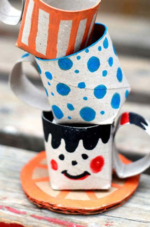 Artesanato com rolo de papel higiênico: mini xícaras