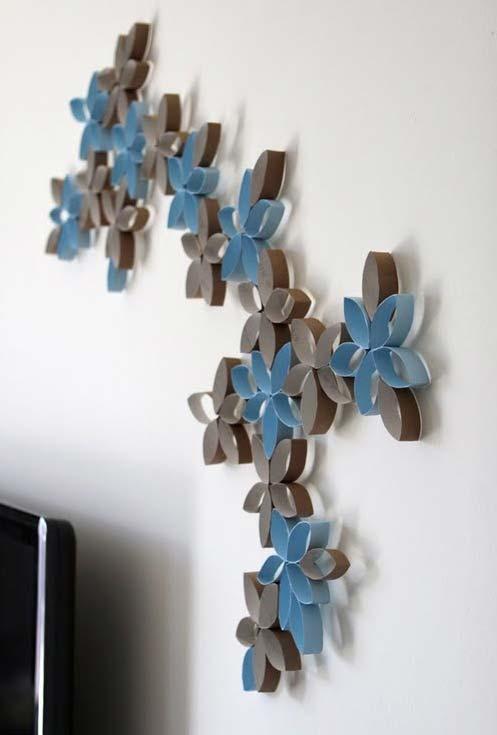 Artesanato com rolo de papel higiênico: decoração de parede