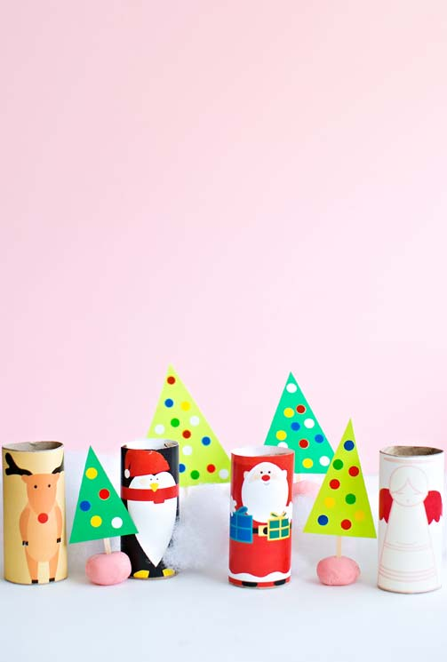 Faça a decoração de natal com rolos de papel higiênico
