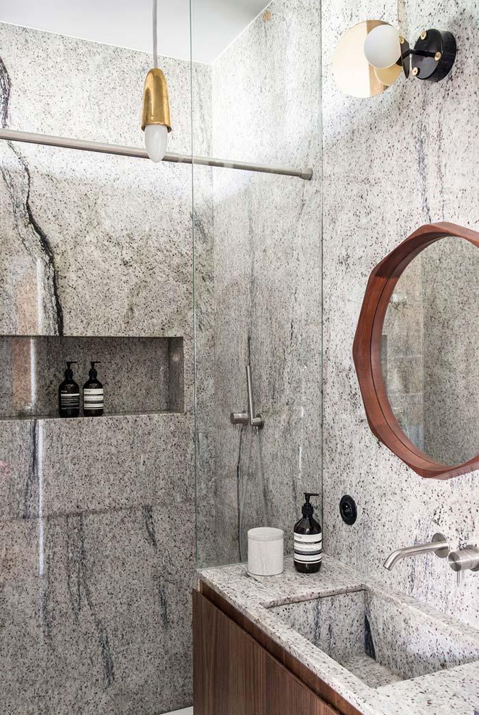 Banheiro moderno em pedra