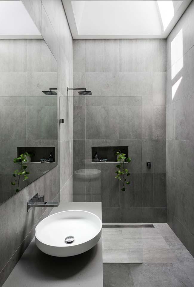 Banheiro moderno com plantinha