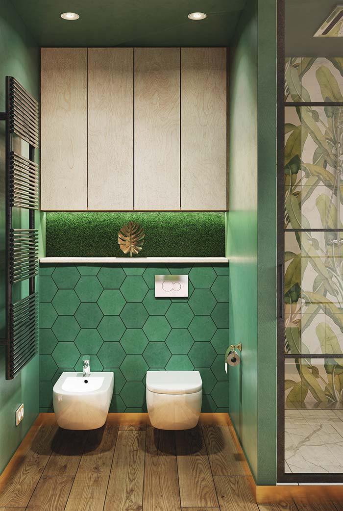 O colorido para dentro do banheiro moderno