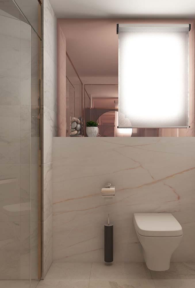 Banheiro moderno com um rosa bem sutil
