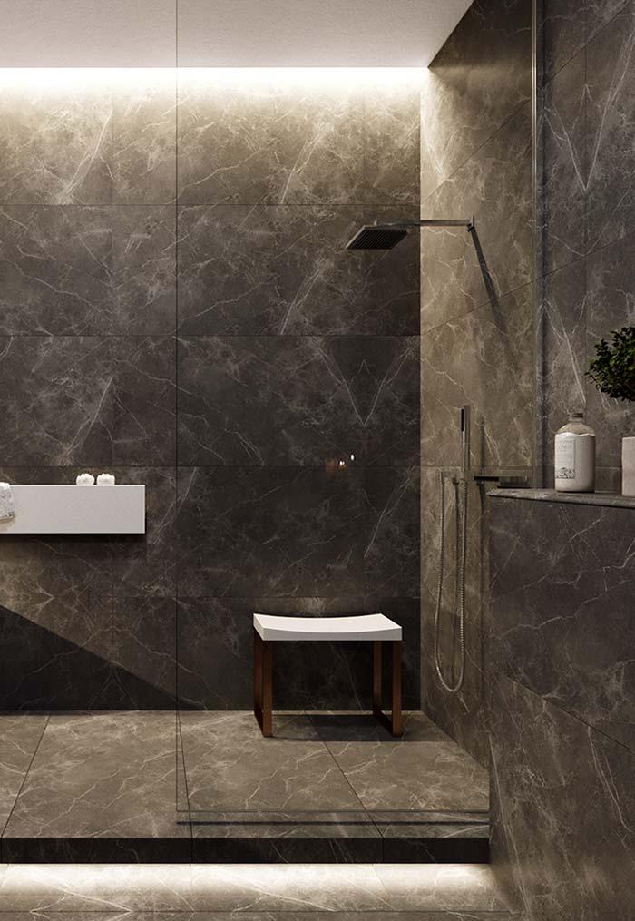 Banheiro moderno em pedra escura
