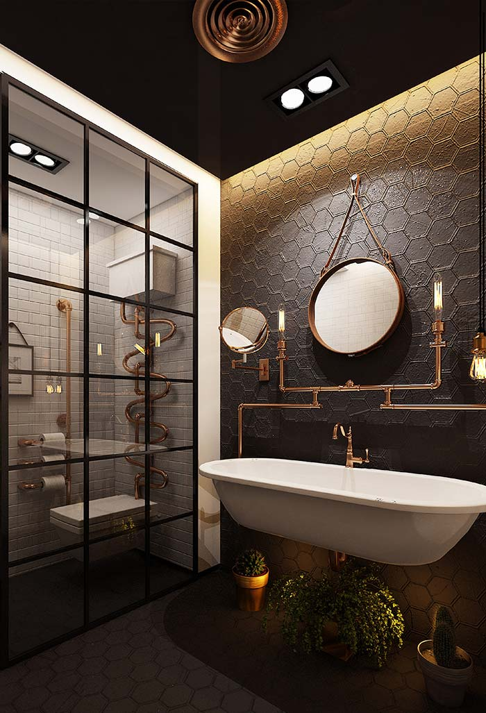 Banheiro moderno estilo steampunk