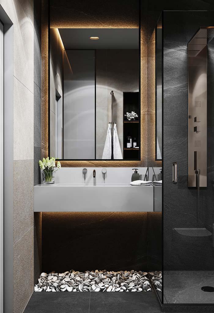 Pedriscos no banheiro moderno